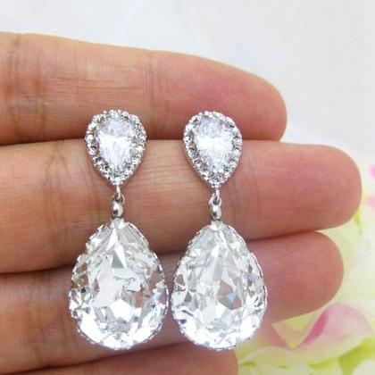 Bridal Crystal Earrings Wedding Jew..