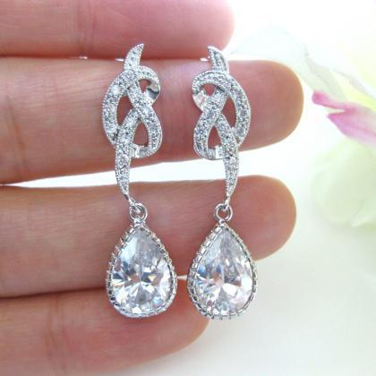 Ribbon Bow Earrings Cubic Zirconia ..