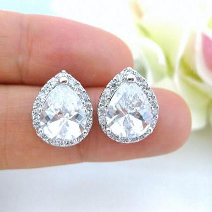Crystal Teardrop Stud Earrings Brid..