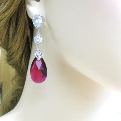 Fuchsia Teardrop Earrings Swarovski..