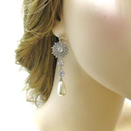 Bridal Long Earrings Wedding Jewelr..