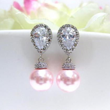Blush Pink Bridal Pearl Earrings & ..