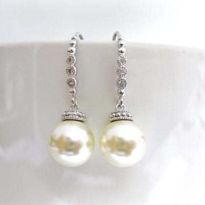 Bridal Pearl Earrings Wedding Pearl..