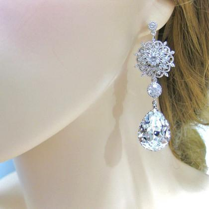 Bridal Crystal Teardrop Earrings Ch..
