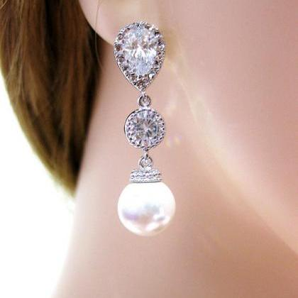Bridal Pearl Earrings Wedding Jewel..