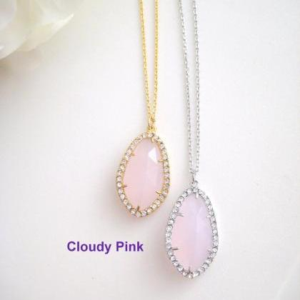 Champagne Peach Teardrop Necklace C..