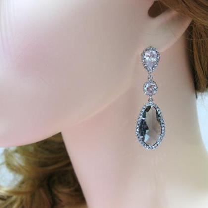 Dark Grey Bridal Earrings Charcoal ..