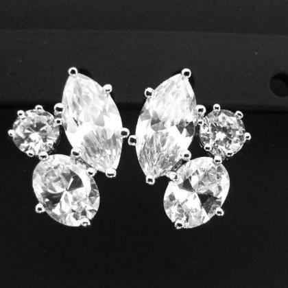 Bridal Crystal Stud Earrings in Sil..