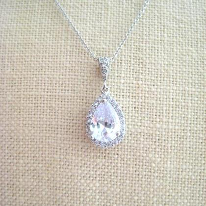 Bridal Crystal Teardrop Necklace Ro..