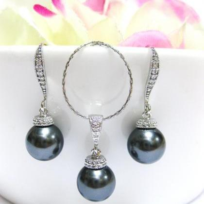 Bridal Pearl Earrings Dark Grey Cha..