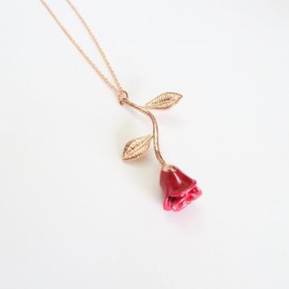 Red Rose Flower Pendant Necklace fo..