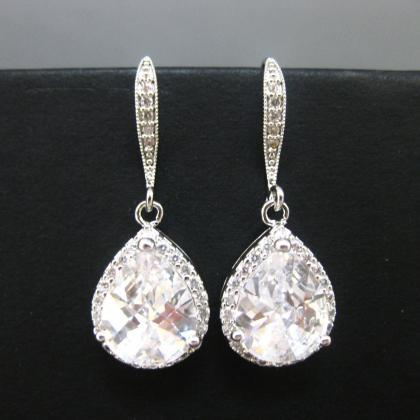 Bridal Cubic Zirconia Earrings Rose..