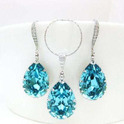 Teal Blue Earrings & Necklace Gift ..