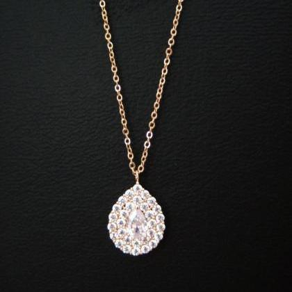 Crystal Teardrop Necklace in Rose G..