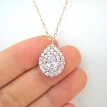 Crystal Teardrop Necklace in Silver..