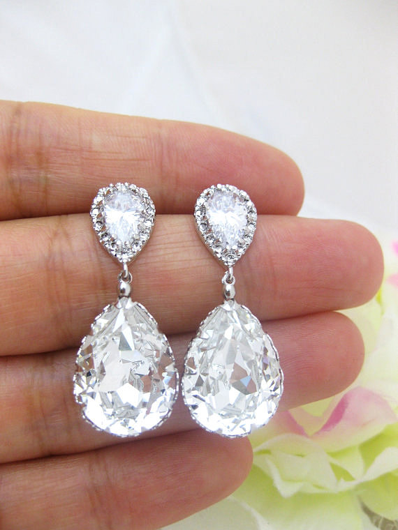 Bridal Crystal Earrings Wedding Jewelry Swarovski Crystal Teardrop Earring Bridesmaid Gift Bridal Party Earrings Drop Bridal Earrings (E008)
