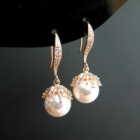 Bridal Pearl Earrings Swarovski 10mm Round Pearl White Gold Earrings Floral Pearl Drop Earrings Wedding Jewelry Bridesmaid Gift (E301)