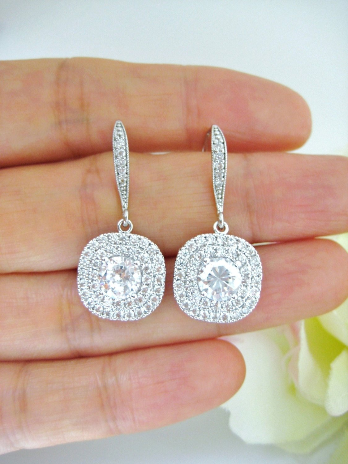 Rose Gold Bridal Crystal Earrings Square Cut Halo Style Earrings Wedding Jewelry Bridesmaids Gift Cubic Zirconia Multi-Stone Earrings (E204)
