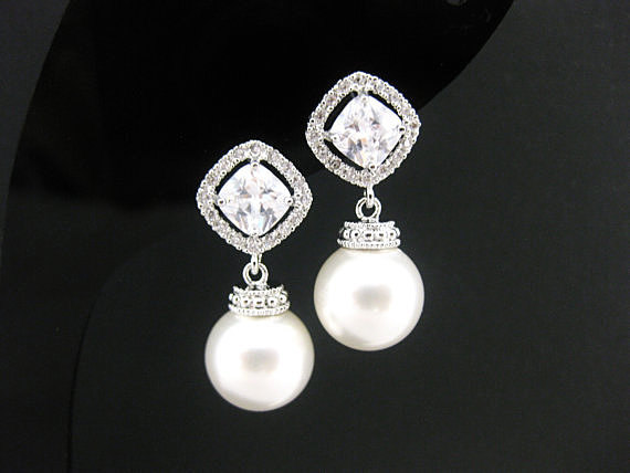 Bridal Pearl Earrings Wedding Pearl Earrings Swarovski 10mm Round Pearl Cubic Zirconia Earrings Square Cut Earrings Bridesmaid Gift (E152)