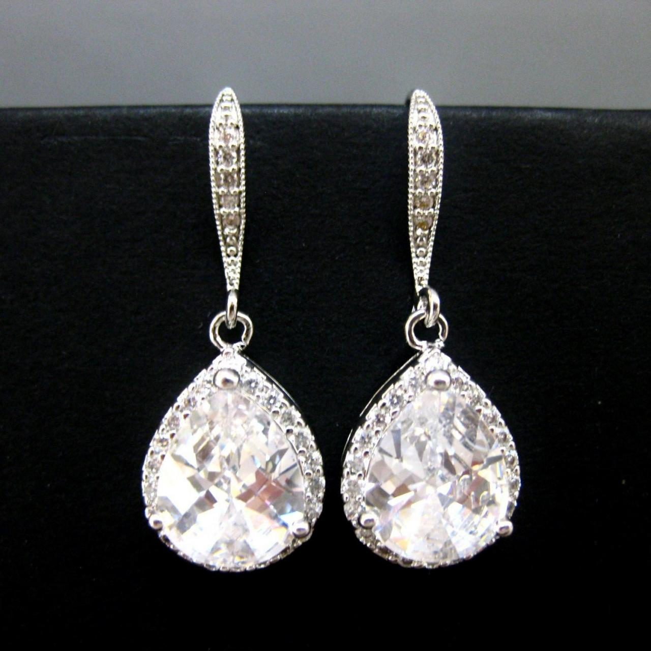 Lux Cubic Zirconia Earrings Teardrop Earrings Bridal Crystal Earrings Wedding Jewelry Bridesmaids Gift Sparky Earrings (E032)