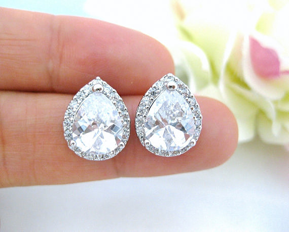 Crystal Teardrop Stud Earrings Bridal Cubic Zirconia Earrings Wedding Rhinestone Earrings Bridesmaid Gifts Sparky Earrings (E010)