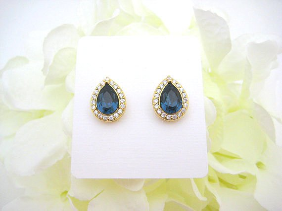 Swarovski Montana Blue Teardrop Stud Earrings Navy Blue Crystal Earrings Bridesmaids Gift Cubic Zirconia Earrings Wedding Jewelry (E303)