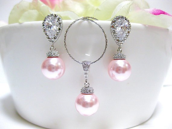 Blush Pink Bridal Pearl Earrings & Necklace Set Swarovski Rosaline 10mm Round Pearl Wedding Jewelry Bridesmaid Gift Pink Jewelry (NE028)
