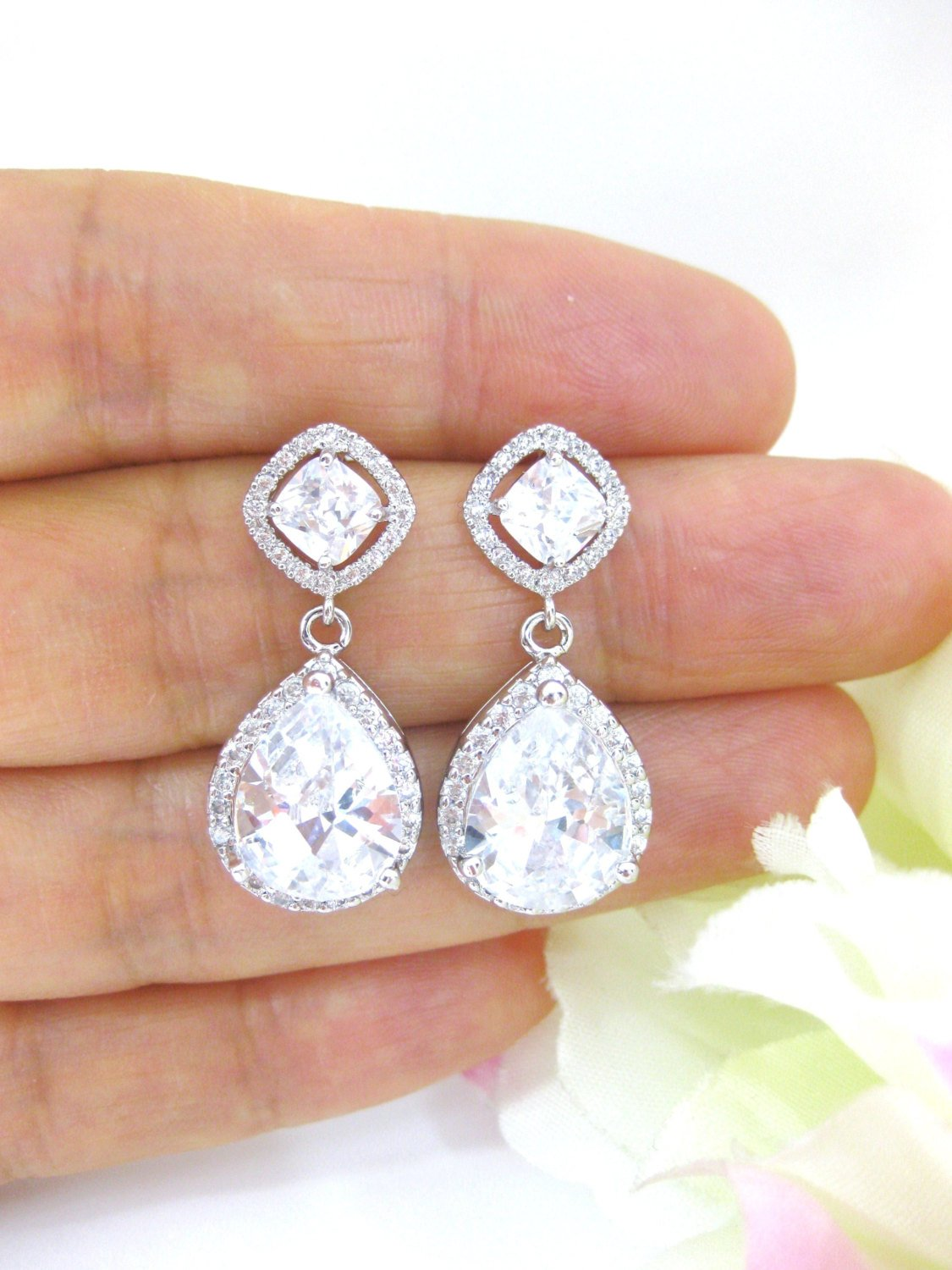 Bridal Cubic Zirconia Teardrop Earrings Wedding Earrings Large Lux Cubic Zirconia Crystal Earrings Square Cut Earrings Bridesmaid Gift(E153)