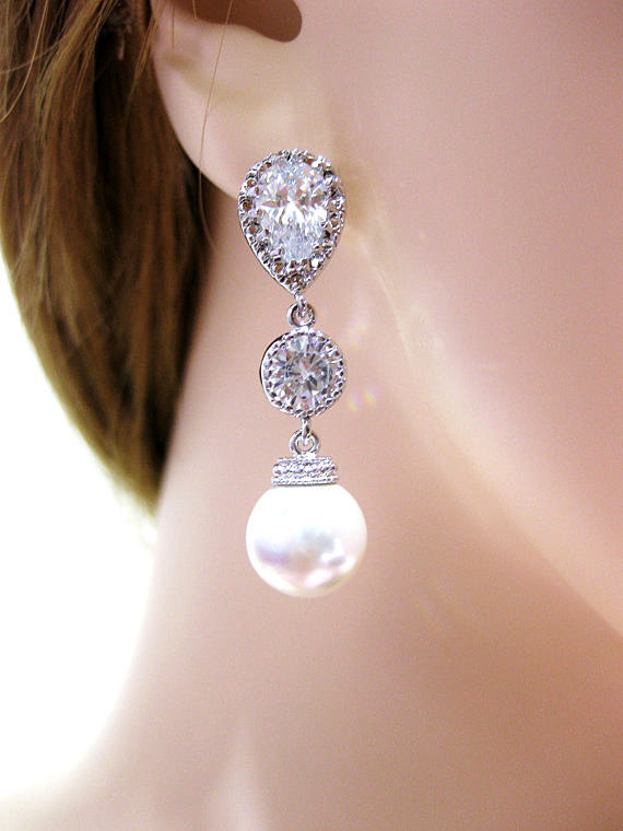 Bridal Pearl Earrings Wedding Jewelry Bridesmaid Gift Swarovski 10mm Pearl Long Bridal Earrings Cubic Zirconia Sparky Earrings (E035)