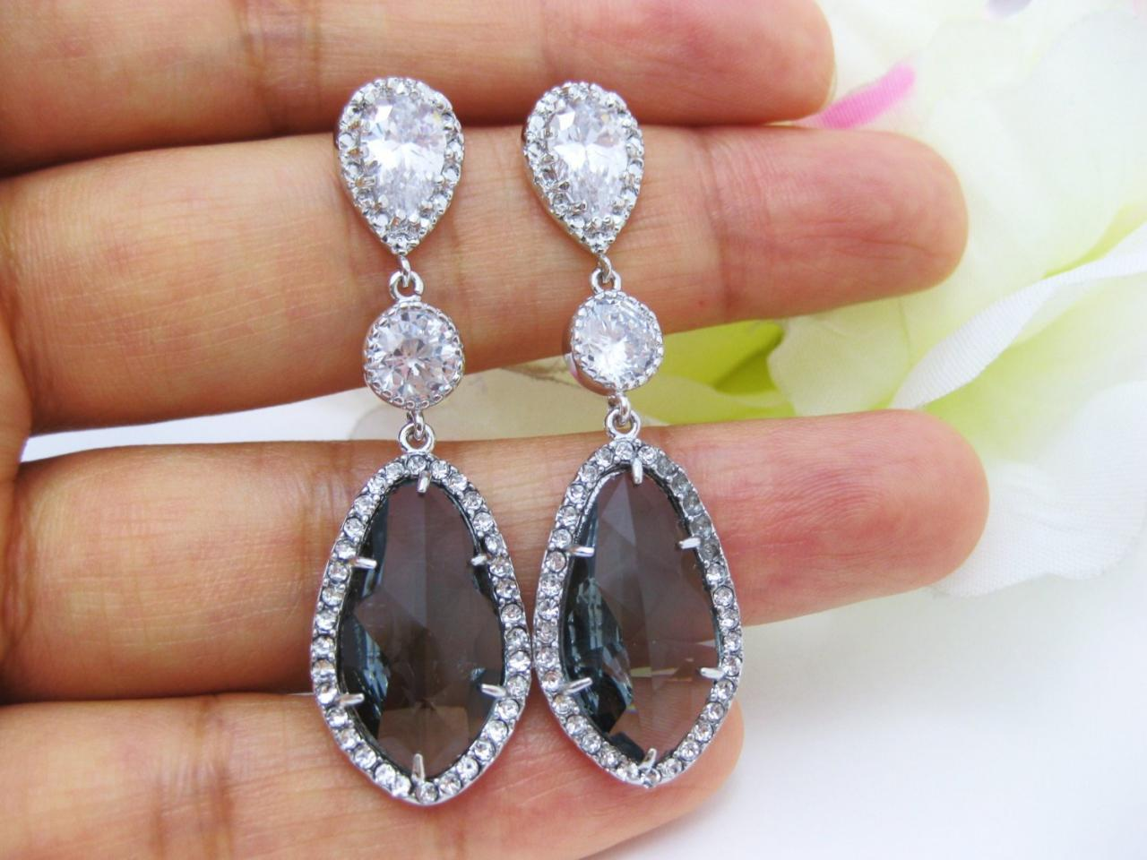 Dark Grey Bridal Earrings Charcoal Black Diamond Earrings Cubic Zirconia Teardrop Earrings Bridesmaid Gift Earrings (E055)