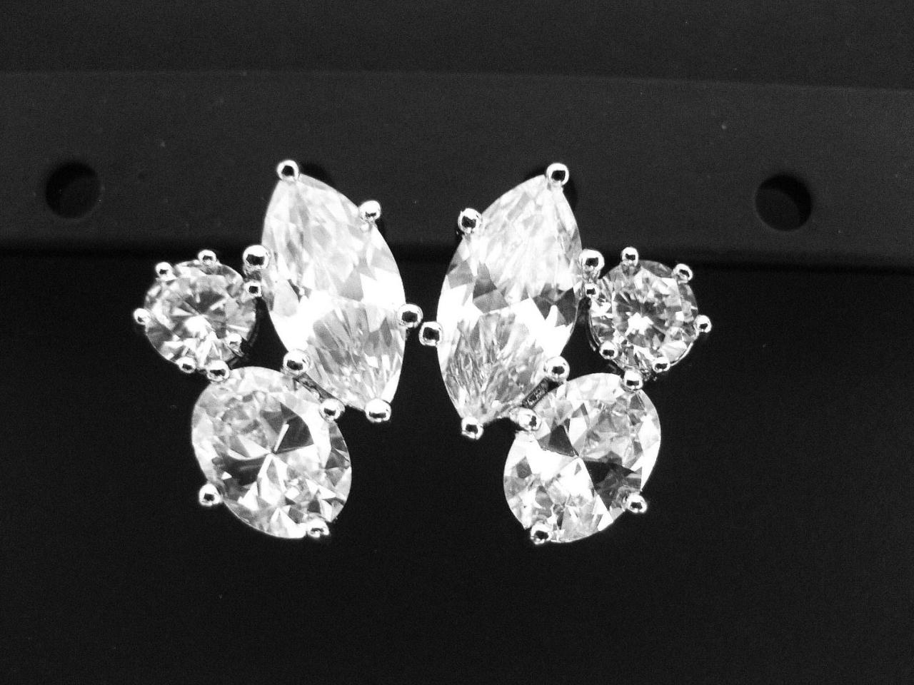 Bridal Crystal Stud Earrings in Silver, Clear Cubic Zirconia Earrings, Wedding Jewelry, Bridesmaid Gift Multi-Stone, Earrings Sparky (E018)