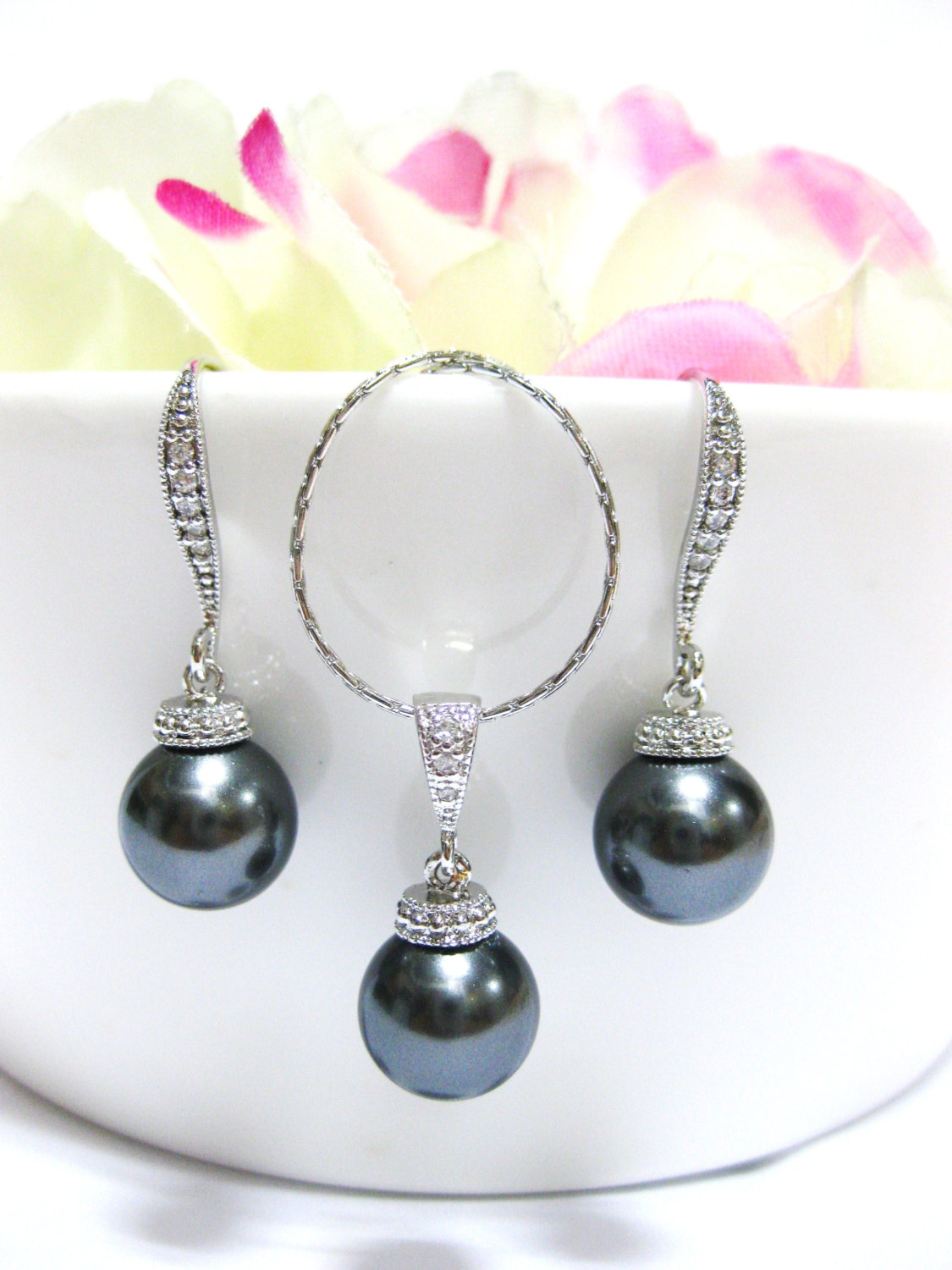 Bridal Pearl Earrings Dark Grey Charcoal Jewelry Swarovski 10mm Pearl Wedding Jewelry Bridesmaid Gift Black Earrings (E005)