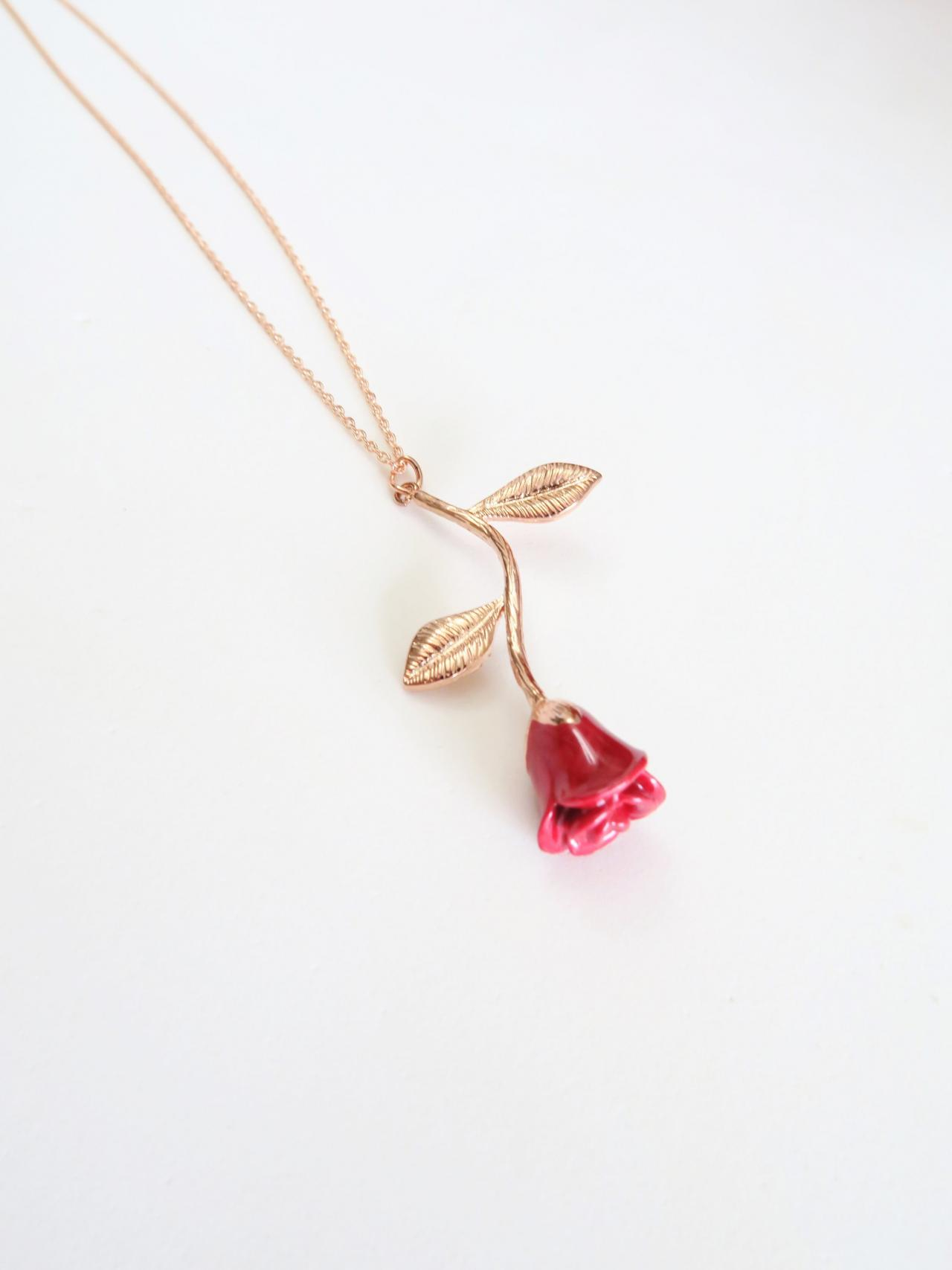 Red Rose Flower Pendant Necklace for her Valentin's Day for Girlfriend Mother's day Gift Wedding Necklace, Birthday Gift for Her (N041)