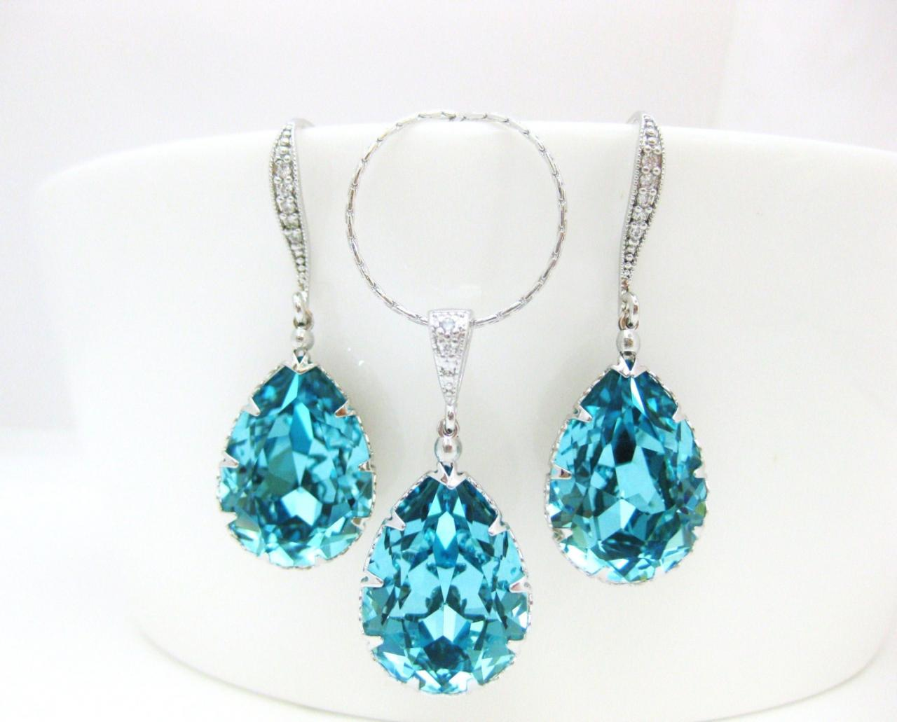 Teal Blue Earrings & Necklace Gift Set Swarovski Crystal Light Turquoise Wedding Necklace Bridal drop Earrings Something Blue (NE041)