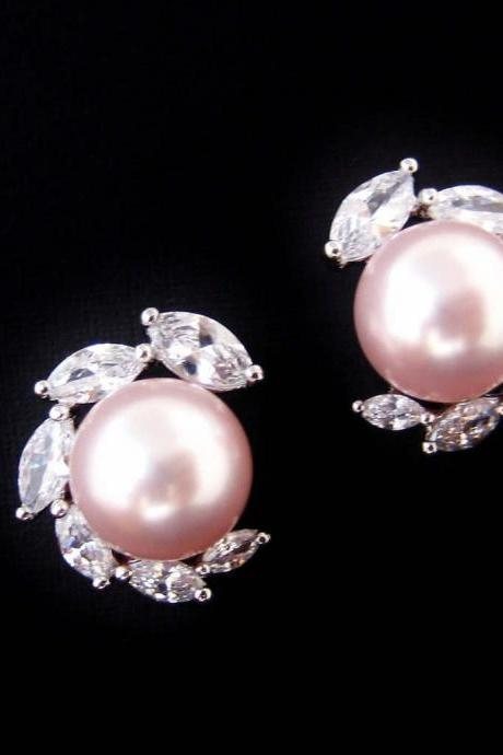 Bridal Pearl Earrings Cubic Zirconia Stud Earrings Wedding Jewelry Swarovski 10mm Pearl Bridesmaids Gift (E305)