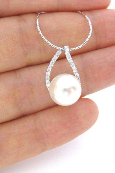 Bridal Pearl Necklace Swarovski 10mm Pearl Necklace Cubic Zirconia Necklace Multi-Stone Necklace Wedding Jewelry Bridesmaids Gift (N029)