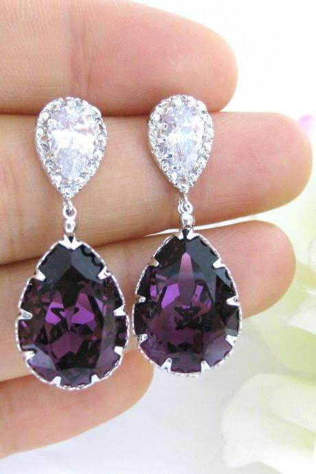 Purple Crystal Earrings Amethyst Teardrop Earrings Swarovski Crystal Cubic Zirconia Earrings Bridesmaid Gift Wedding Earrings (E146)