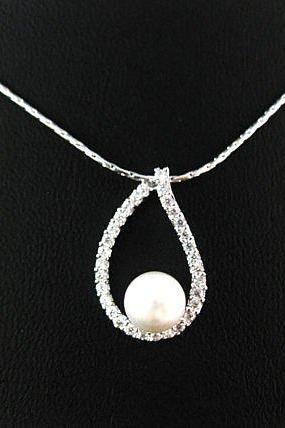 Bridal Pearl Necklace Swarovski 6mm Pearl Cubic Zirconia Teardrop Necklace Wedding Necklace Bridesmaids Gift Multi-Stone Necklace (N029)