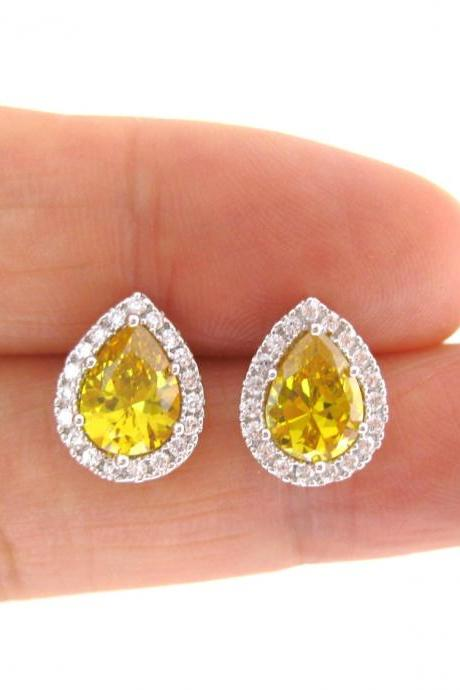 Sunflower Yellow Cubic Zirconia Earrings Teardrop Stud Earrings Bridal Earrings Wedding Jewelry Bridesmaids Gift Yellow Stud Earrings (E155)