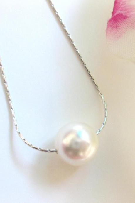 Bridal Pearl Wedding Necklace Floating Swarovski Single Pearl Bridal Prom June Birthday Stone Necklace Minimalist Jewelry (N027)