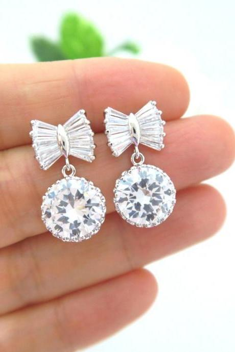 Ribbon Bow Cubic Zirconia Round Crystal Earrings Wedding Jewelry Bridesmaid Gift Birthday Gift (E185)
