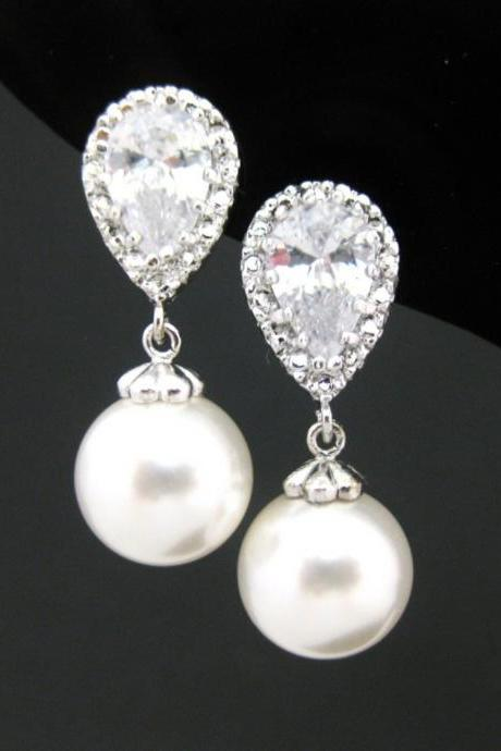 Bridal Pearl Earrings Wedding Jewelry Swarovski 10mm Round Pearl Cubic Zirconia Earrings Bridesmaid Gift Silver Earrings (E176)