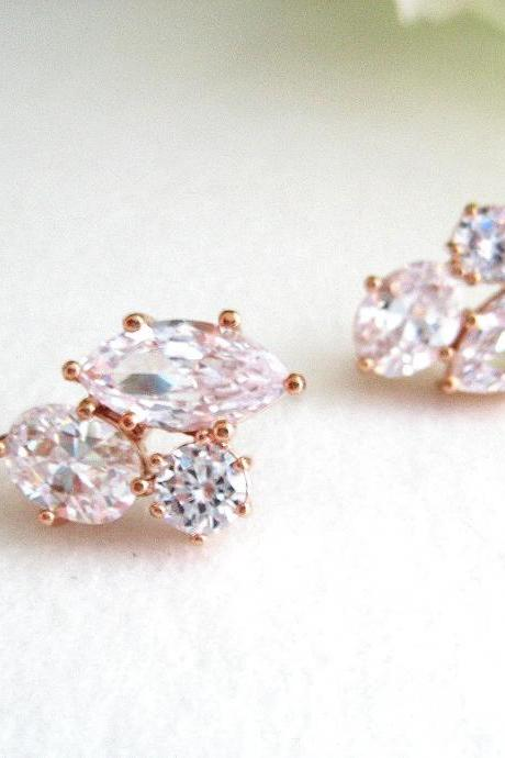 Bridal Crystal Stud Earrings Rose Gold, Clear Cubic Zirconia Earrings, Wedding Jewelry, Bridesmaid Gift, Multi-Stone Earrings (E018)