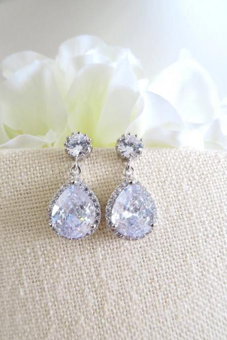 Bridal Crystal Earrings Large Lux Cubic Zirconia Teardrop Wedding Earrings Drop Dangle Bridesmaid Gift Birthday Gift (E033)