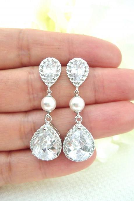Bridal Crystal Earrings Cubic Zirconia Teardrop Wedding Jewelry Bridesmaids Gift Drop Dangle Earrings Sparky Earrings Birthday Gift (E021)