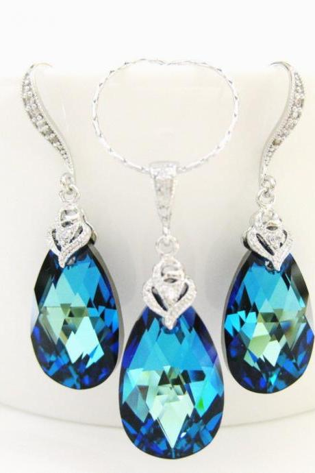 Bermuda Blue Teardrop Earrings & Necklace Gift Set Swarovski Crystal Wedding Jewelry Bridesmaid Gift Bridal Drop Earrings (NE043)