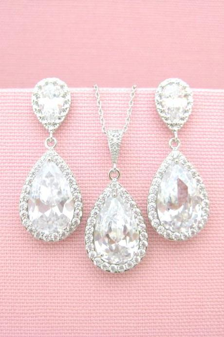 Bridal Crystal Earrings & Necklace Gift Set Cubic Zirconia Teardrop Earrings Wedding Jewelry Drop Dangle Earrings Bridesmaid Gift (NE039)