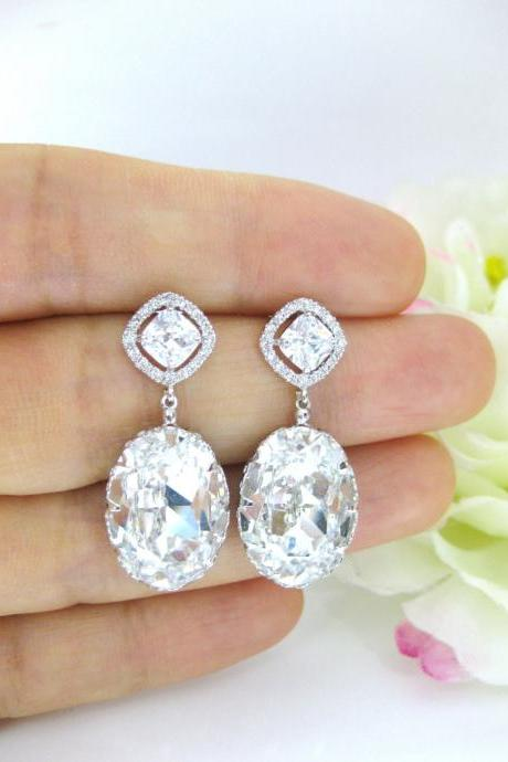 Bridal Clear Crystal Earrings Clear Teardrop Earrings Swarovski Crystal Oval Teardrop Earrings Square Cut Earrings Wedding Earrings (E170)