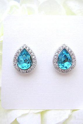 Swarovski Teal Blue Stud Earrings Light Turquoise Earrings Sky Blue Earrings Wedding Earring Bridal Stud Earrings Cubic Zirconia (E303)