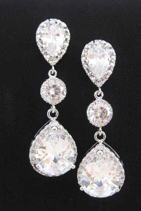 Bridal Crystal Earrings, Cubic Zirconia Teardrop Earrings, Wedding Jewelry, Bridesmaids Gift, Drop Dangle Earrings, Sparky Earrings (E021)